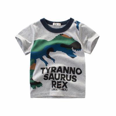花漾兔(HUAYANGTU)儿童短袖T恤 2019新款夏装男童纯棉体恤3宝宝卡通恐龙上衣4圆领衫