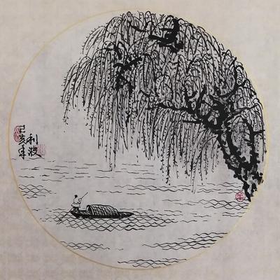 見好就收 現代藝術家精品國畫 原作 山水小品系列003(37cm x 37cm)不含畫框