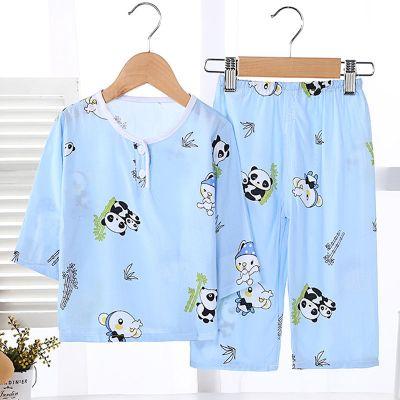 兒童睡衣寶寶家居空調服夏季天薄款卡通長袖套裝 莎丞