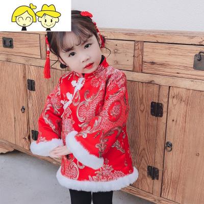 汉服女童3岁拜年服1一周岁宝宝衣服女孩冬装3岁儿童礼服2唐装过年  绿彩虹光