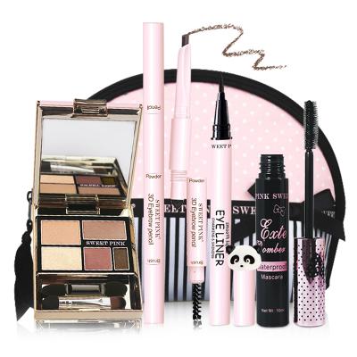 粉色安琪 SWEET PINK時尚眼妝5件套(A組眼影時尚棕+眉筆自然棕+化妝包+睫毛膏+眼線液)