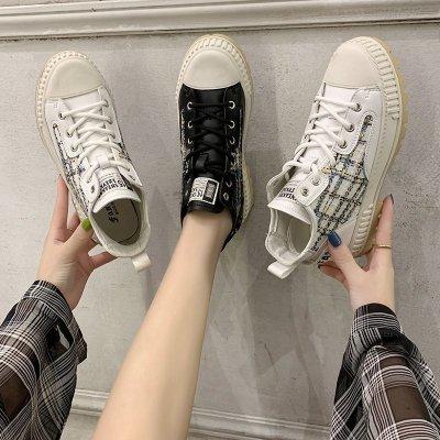 森達利 女鞋 新款2914 女士高幫鞋 運動鞋 跑步鞋 老爹鞋女 馬丁鞋女中高幫增高厚底鞋潮鞋