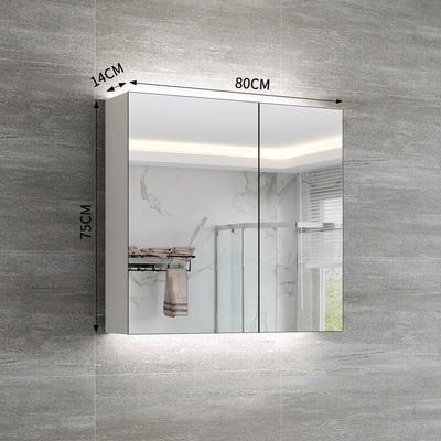 苏宁放心购北欧黑色实木浴室镜柜单独可装LED灯管现代卫生间防雾镜箱厕所镜子柜简约新款