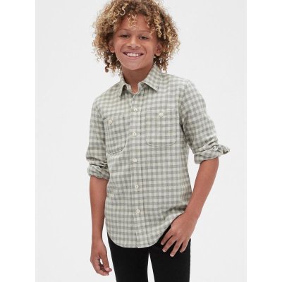 Gap男童舒適長袖襯衫春524942 格紋印花洋氣上衣兒童襯衣潮