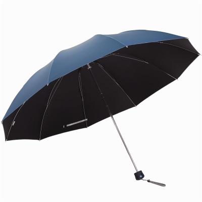 天堂傘 加大加固黑膠三折鋼桿鋼骨商務傘晴雨傘 33188E 蘭灰