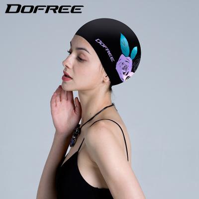 朵梵林玫瑰泳帽女长发韩国时尚可爱游泳帽女防水硅胶游泳装备新品