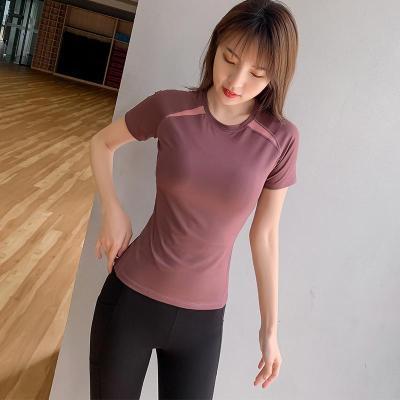 夏季薄款健身運動T恤半袖速干衣緊身顯瘦晨跑步瑜伽服女上衣短袖威珺