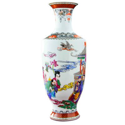 每日精進 景德鎮陶瓷藝術裝飾花瓶 八仙獻壽家居客廳書房裝飾擺件花瓶