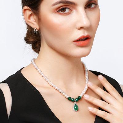 佰色傳情(BRIR) 7-8mm強光白色淡水珍珠項鏈送媽媽婆婆禮物正品女