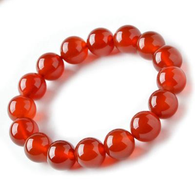 帛兰梓韵 天然红玛瑙手链10MM中国红玛瑙手饰男女款本命年红色单圈手链
