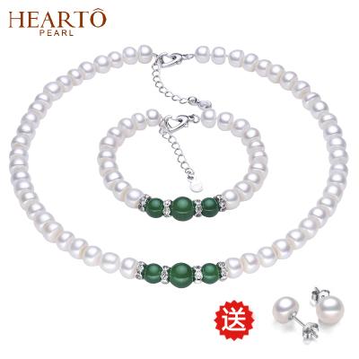 【送耳钉】海瞳 淡水珍珠项链 套装 饱满扁圆 玛瑙珍珠项链 两件套 送妈妈 送长辈 首饰套装 珍珠