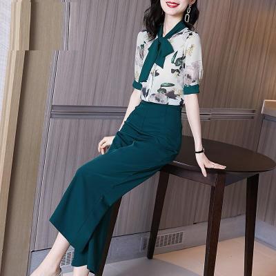 與牧2020年新款夏季時尚職業碎花襯衫闊腿褲兩件套裝女561