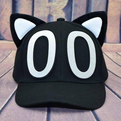 棒耳帽子休闲猫舌帽猫耳朵帽子女沿鸭舌帽儿童子