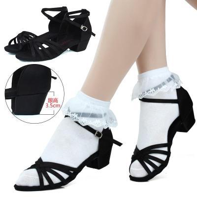 兒童拉丁舞鞋女孩跳舞舞蹈鞋專業少兒中跟舞鞋女童軟底練功鞋涼鞋
