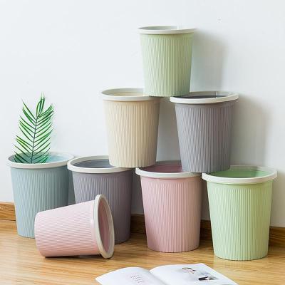 創意時尚家用大號衛生間客廳廚房臥室辦公室帶壓圈無蓋垃圾桶紙簍弧威