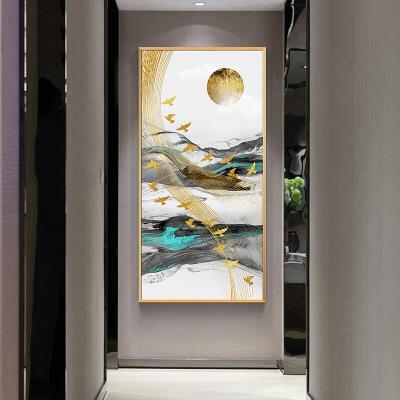 舒廳 玄關裝飾畫現代輕奢晶瓷畫金色琉璃抽象山水掛畫客廳沙發背景壁畫美 極光C款(拉絲金色)鋁合金外框高120*寬60cm