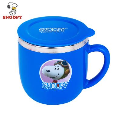 史努比(SNOOPY)兒童保溫杯嬰兒學飲杯不銹鋼小孩牛奶杯子寶寶幼兒喝水訓練杯小口杯260ML KF3005