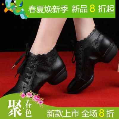 广场舞鞋女真皮软底夏季全牛皮外穿时尚舞蹈鞋成人水兵爵士跳舞鞋