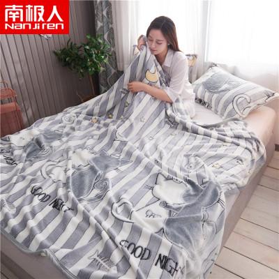 南极人(NanJiren)家纺 保暖雪花绒毛毯绒毯子 床上用品印花空调毯多功能盖毯午睡毯床单毯子
