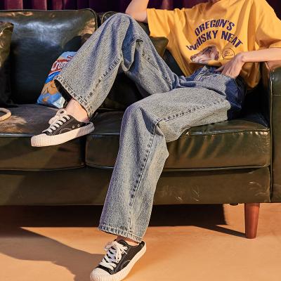唐狮2019秋季新款直筒牛仔裤女拖地裤子女高腰宽松泫雅同款阔腿裤