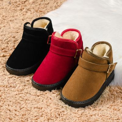 芳棋云品牌冬季儿童雪地靴女童靴子 宝宝棉鞋男童短靴 加绒毛靴保暖棉靴搭扣