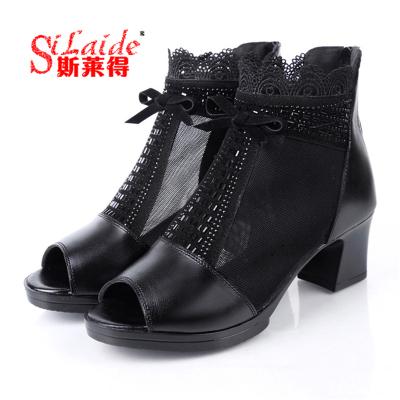 斯萊得夏季真皮羅馬鞋水鉆頭層牛皮魚嘴網紗中年女士中跟時尚女涼鞋