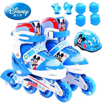 DISNEY/迪士尼米奇 公主 赛尔号 卡露露溜冰鞋儿童闪光轮滑鞋套装可调旱冰鞋