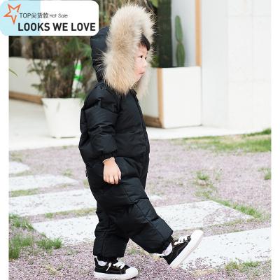 宝宝无缝连体羽绒服男女童外出服婴幼儿羽绒连体衣大毛领加绒加厚