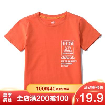 叮當貓童裝男童陽光帥氣時尚潮流針織中大童短袖圓領針織T恤衫