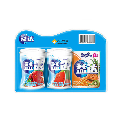 益达(Extra) 口香糖木糖醇2+1苏宁定制装(草莓西瓜40粒双瓶装+热带水果12片装)