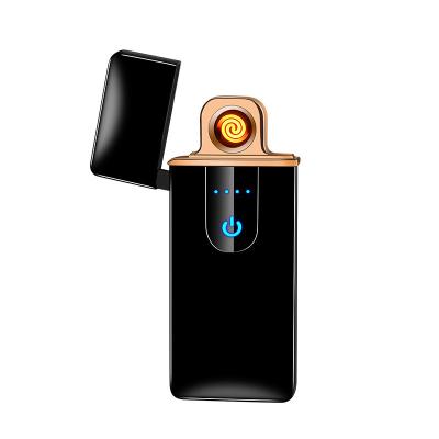 創意禮品依帝魅智能指紋感應合金USB充電銀色打火機創意防風電子點煙器男女禮品定制刻字居家送長輩送朋友情人節禮物