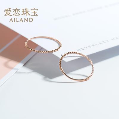 愛戀珠寶 18k金玫瑰金戒指 18k彩金女戒指環時尚簡約尾戒指間戒 多只疊戴更時尚