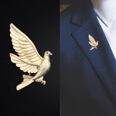高档简约和平鸽胸花领针西服胸针男时尚复古外套别针徽章男士配饰