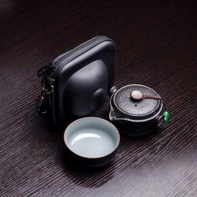 【优选】黑陶快客杯一壶一杯 单个一人便携简易旅行小茶具套装中日式简约