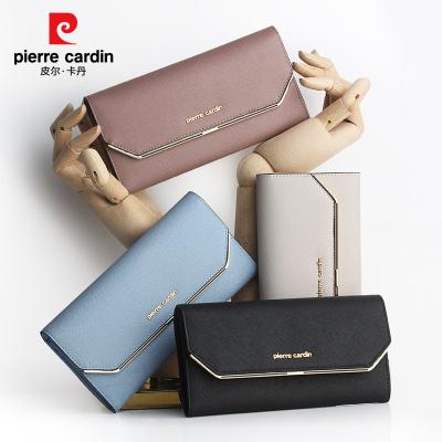 皮尔卡丹女士长款钱包真皮钱夹时尚韩版手包女马卡龙糖果色手拿包正品潮