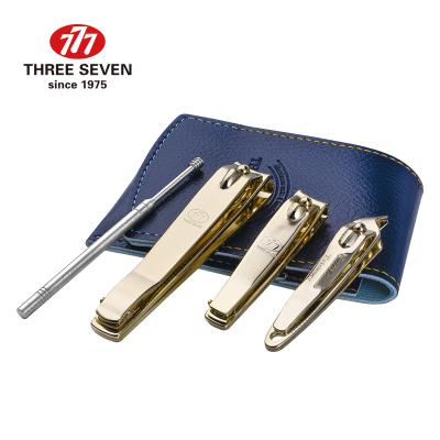 韓國777進口正品指甲刀3件套組合 大號平口指甲刀 中號平口指甲刀 斜口指甲刀 贈皮套(顏色隨機)耳挖 金色配件