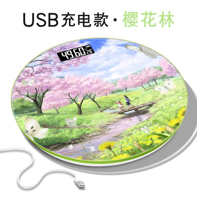 USB充電體重秤人體健康便攜式家用電子秤夜視卡通電子稱家用人體秤迪程