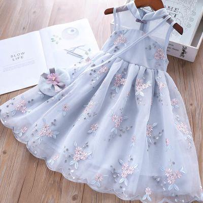 女童連衣裙夏裝2020新款童裝女孩洋氣旗袍公主裙兒童背心網紗裙子 臻依緣