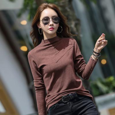 企妍T恤女裝2020半高領紐扣純色打底衫女長袖T恤上衣女裝