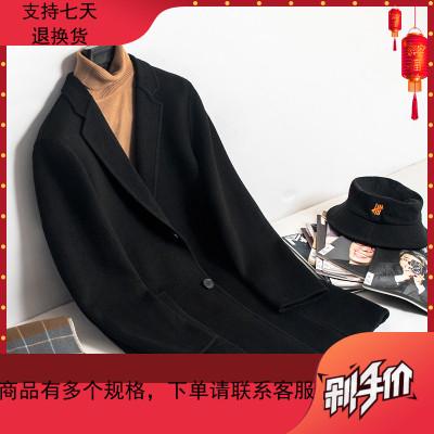 秋冬毛呢大衣男中長款阿爾巴卡羊毛雙面呢外套男士韓版無羊絨風衣