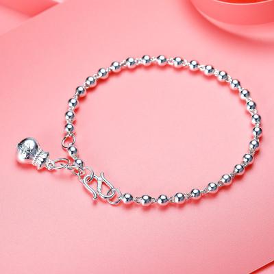 佰色傳情(BRIR) 經典百搭S990銀手鏈女士3-4mm光珠足銀手鏈生日禮送閨蜜