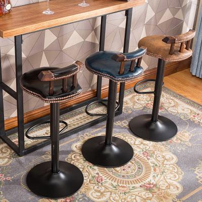 美式酒吧椅復古實木吧臺椅升降椅家用高腳凳高凳阿斯卡利旋轉吧凳靠背椅子
