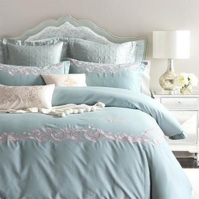 三色美式加厚磨毛全棉刺繡婚慶四件套純色 歐式純棉床上用品結