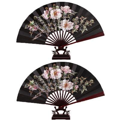 折扇广告扇子中国风男古风汉服空白扇礼品宣传扇-8寸黑牡丹
