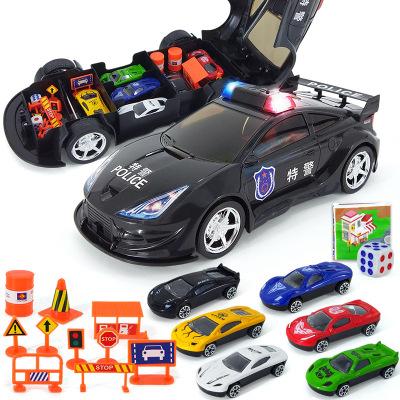 舒萊特(shulaite)仿真公安警車聲光模型合金小汽車路障地圖套裝
