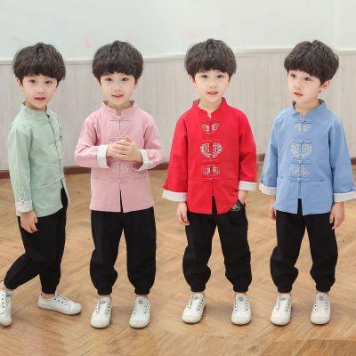 兒童漢服古裝套裝秋裝男童唐裝民族風中國風復古國學服春秋演出服