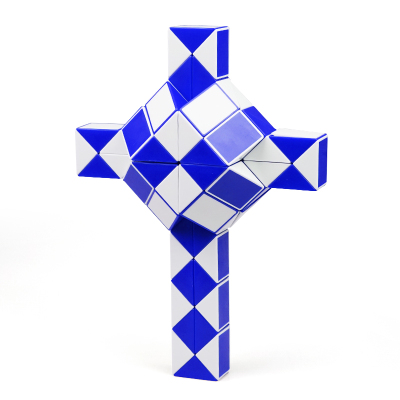圣手7130A-72七十二段魔尺 彈力72段魔蛇玩具百變魔尺魔方兒童益智玩具早教減壓解壓玩具 藍白