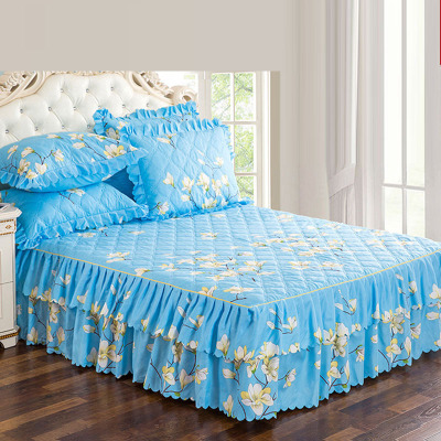 七日爱(Qiriai)单件加厚床罩夹棉床裙床笠床盖套床单家居防滑床罩
