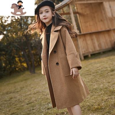 女童毛呢外套兒童呢子大衣夾棉加厚2019新款冬裝洋氣中大童中長款