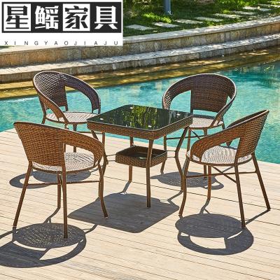 户外桌椅庭院藤椅茶几三件套组合简约休闲阳台室外铁艺小桌椅网红